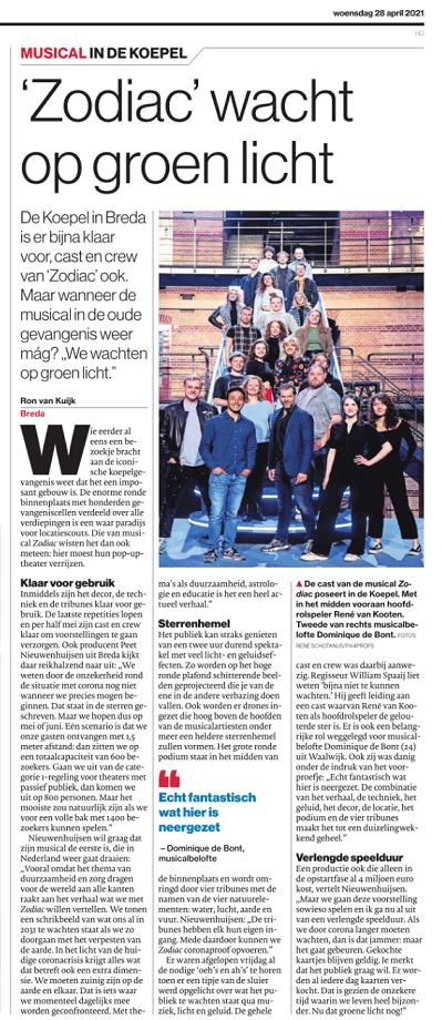 'Zodiac' wacht op groen licht – Brabants Dagblad 28-04-21